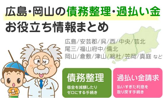 広島、岡山の債務整理や過払い金請求のお役立ち情報まとめ